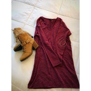 Zara V-Neck Burgundy Sweater Dress